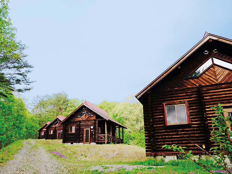 アウトドアファンに人気の『奥会津 昭和の森キャンプ場』。バンガローや写真のケビンハウスも備わり、設備が充実している(写真提供/昭和村)