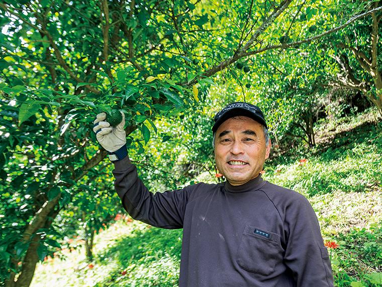 『矢祭南ユズ生産組合』の緑川裕之さん。ユズは収穫期の11月に向けて少しずつ熟していく(写真は10月に撮影)