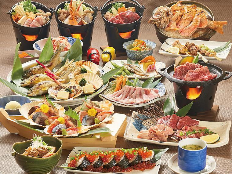 人気の個別盛り宴会コース。鍋も刺身もすべて個別盛りなので安心