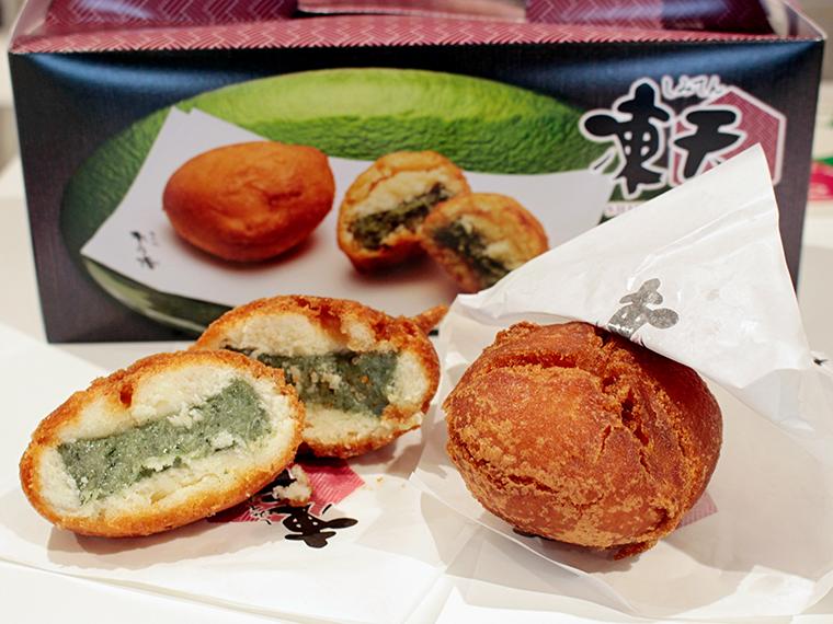 人気菓子「凍天」(200円)が復活!凍餅をドーナツのような生地で包み揚げた一品。この味を待っていた方も多いはず…