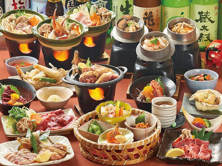 個別盛り宴会コースは4,500円から。料理はすべて一人盛りで提供。メインや食事が選べて大満足