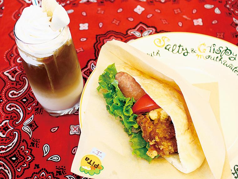 「ピタパン(ソーセージ&チキン)セット」(840円)※ピタパン(500円)、ホイップカフェオーレ(390円)は単品でも注文可。セットで50円引き