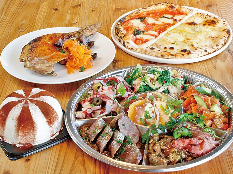 2・3人前オードブルに、「A・ピザ」、「B・奥田シェフレシピズコット」、「C・伊達鶏のコンフィ」のいずれかが選べる。オードブルは単品(3,500円〜)もある