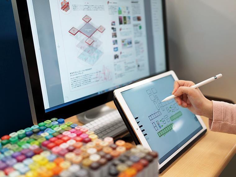 イメージを形にし、わかりやすくレイアウトするデザイン制作課。デザインは一つひとつがオーダーメイドだ