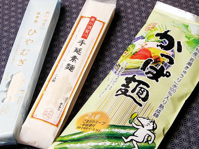 そうめんや、ひやむぎなど初夏にぴったりの麺やお土産用の「かっぱ麺」も販売