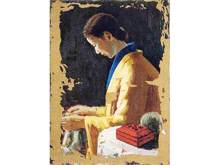 興梠武《編みものする婦人》