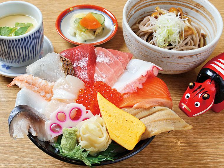 「海鮮チラシ+ミニそば」(1,210円)※終日提供
