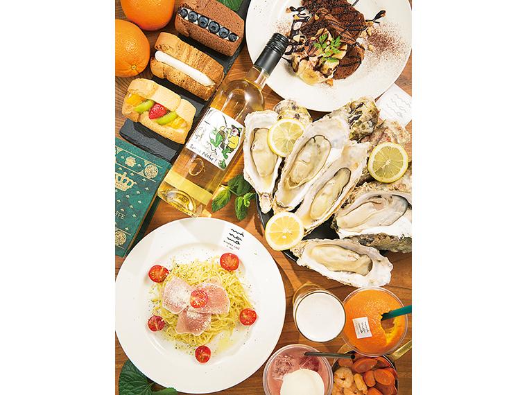 シフォンに三陸カキ、パスタにワインとミナモカフェの魅力をぎっしり