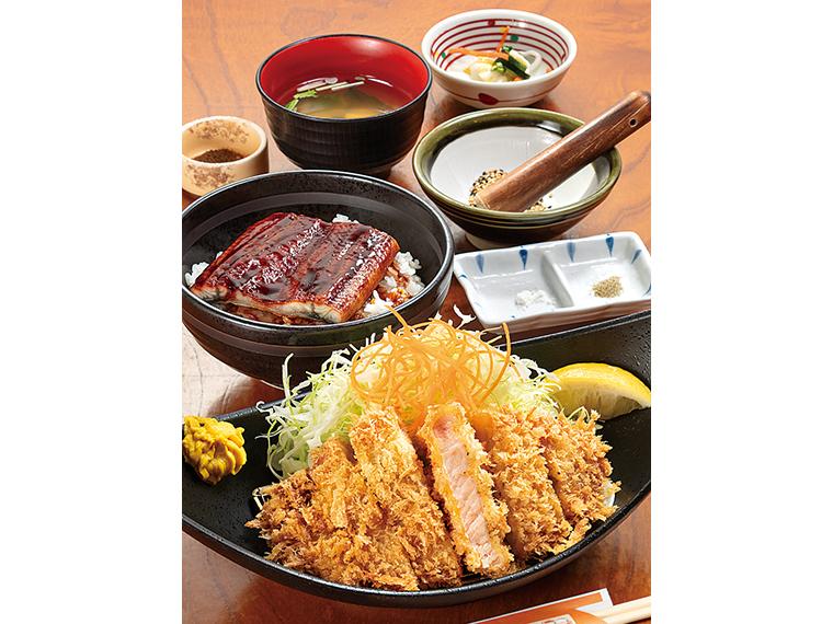 夏季限定「鰻豚W定食」(2,156円)。ご飯・キャベツ・味噌汁のお替わり無料