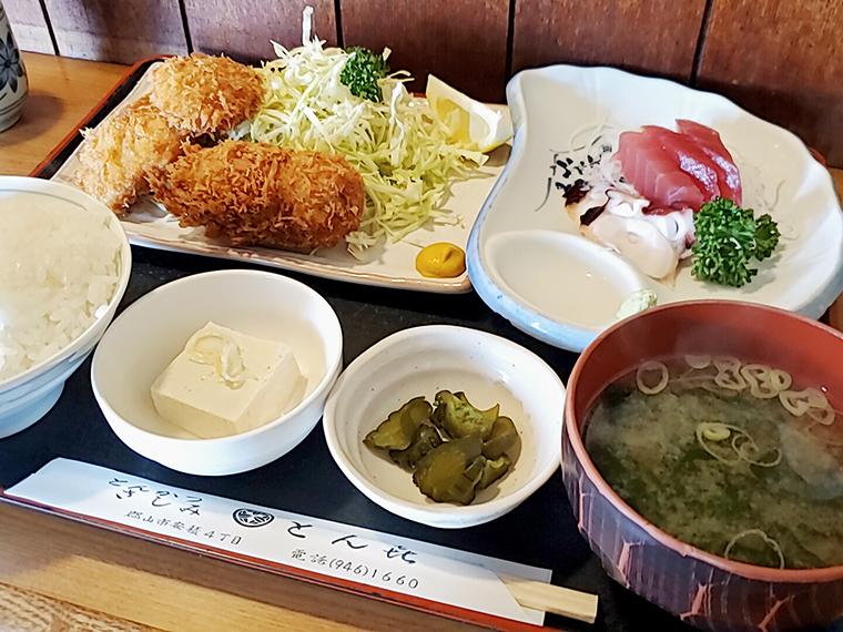 ヒレカツとコロッケが入った、刺身付B定食(1,300円)