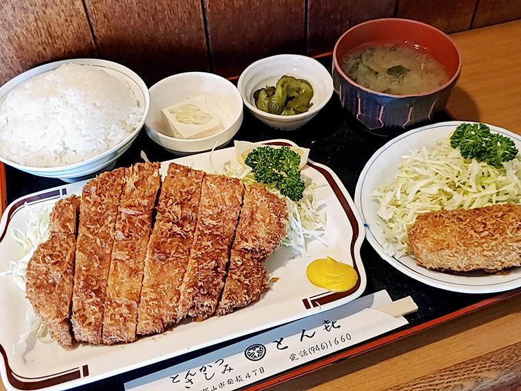 「大ロースカツ定食」(1,200円)と、コロッケ単品(1個250円~)